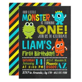 Monster 1st Birthday Party Invitations