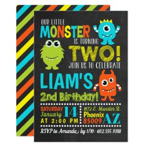 Monster 2nd Birthday Party Invitations