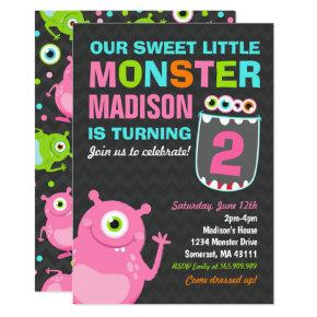 Monster Birthday Invitation Pink Monster Party