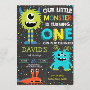 Monster First Birthday Boy Little Monster Chalk Invitation
