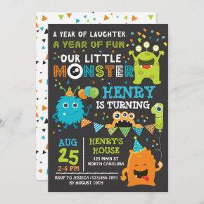 Monster First Birthday Invitation, Monster Invite