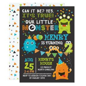Monster Second Birthday Invitation, Monster Invite