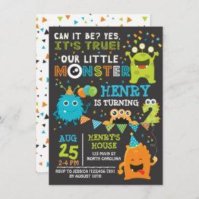 Monster Second Birthday Invitation, Monster Invite