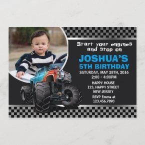 Monster Truck Birthday Invitation