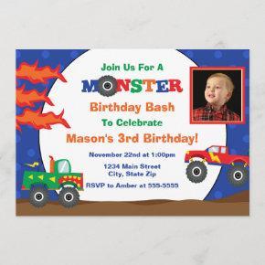 Monster Truck Birthday Invitation Photo