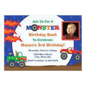 Monster Truck Birthday Invitation 5x7 Photo Card