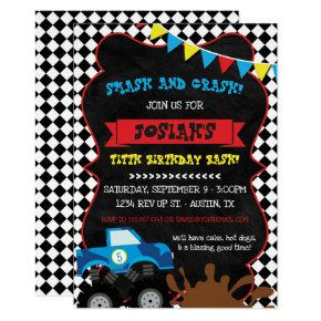 Monster Truck Birthday Invitations Checkered Flag