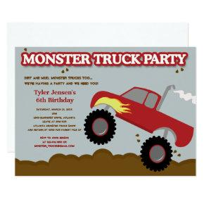 Monster Truck Birthday Party (Red / Gray Colors) Invitation