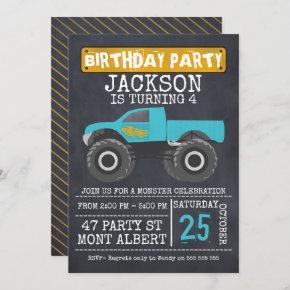 Monster Truck Chalboard Birthday Party Invitation