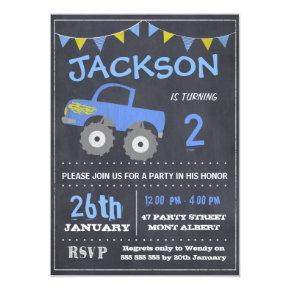 Monster Truck Chalkboard Birthday Invitations