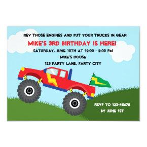 Monster Truck Invitations - Boys Birthday