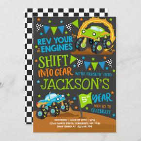 Monster Truck Invitation Monster Truck Birthday