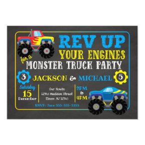 Monster Truck Joint Birthday Invitations
