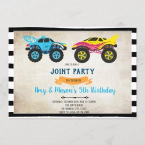 Monster truck joint birthday invitation