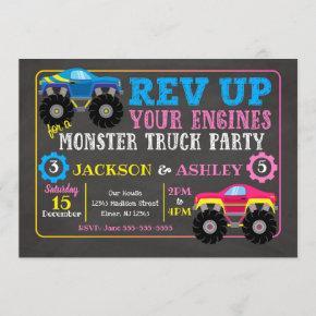 Monster Truck Joint Birthday Invitation / Boy Girl