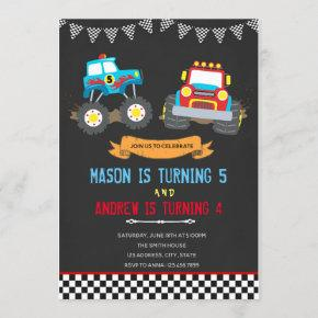 Monster truck joint birthday party invitation