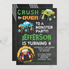Monster Truck Kids Birthday Party Invitation