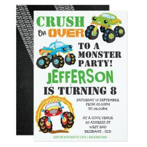 Monster Truck Kids Birthday Party Invitations