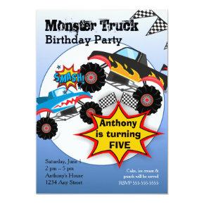Monster Truck Kids Boys Birthday Party Invitations