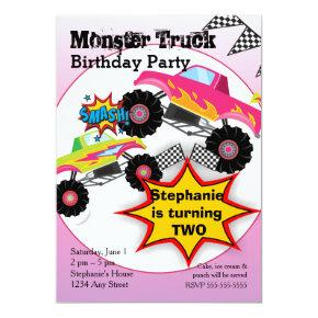 Monster Truck Kids Girls Birthday Party Invitations