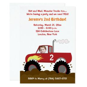 Monster Truck Photo Birthday Invitations (Red)