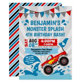 Monster Truck Pool Party Summer Birthday Invitations