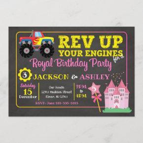 Monster Truck & Princess Joint Birthday Invitation