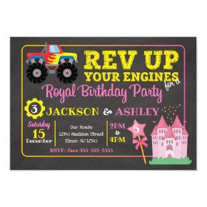 Monster Truck & Princess Joint Birthday Invitation
