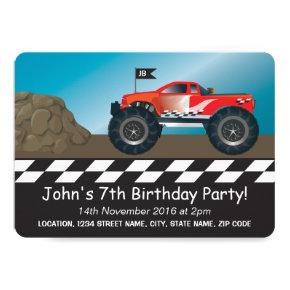 Monster Trucks Boys Racing Personalized Birthday Card