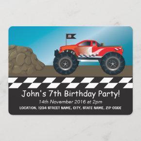 Monster Trucks Boys Racing Personalized Birthday Invitation