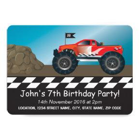 Monster Trucks Boys Racing Personalized Birthday Invitation