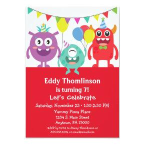 Monsters Birthday Invitations Boys Colorful Monster