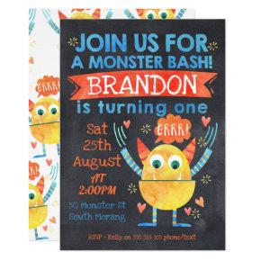 Monsters Watercolor 1st Birthday Invitations