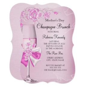 Mother's Day Pretty Pink Rose Champagne Brunch Card
