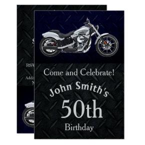 Motorcycle Birthday Party Men's Invitations