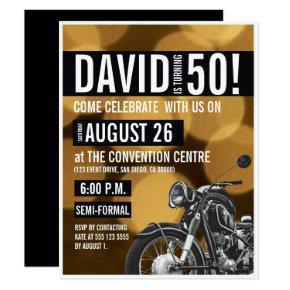 Motorcycle theme 50th birthday party Gold black Invitation