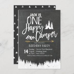 Mountain Bear Forest Camping Birthday party camper Invitation