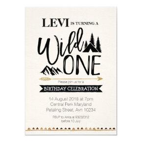 Mountain rustic wild one Birthday Invitations
