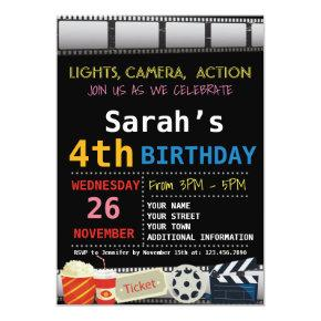 MOVIE BIRTHDAY PARTY Invitations