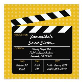 Movie Clapboard Sweet Sixteen Birthday Invitation
