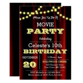 Movie Lights Yellow Birthday Invitations