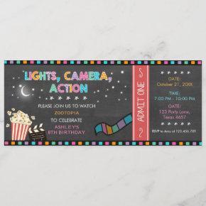 Movie Night Birthday Invitation Movie ticket Party
