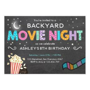 Movie Night Birthday Invitation Under the Stars