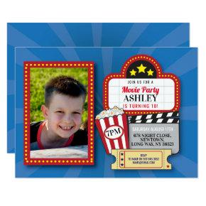 Movie Night Birthday Party Any Age Cinema Photo Invitation
