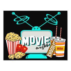 Movie Night Birthday Party Celebration Invitation