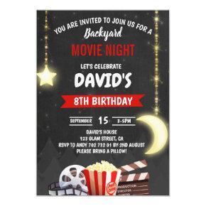 Movie Night Birthday Party Chalkboard Invitation