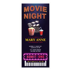 Movie Night Birthday Party Ticket Pass Birthday Invitation