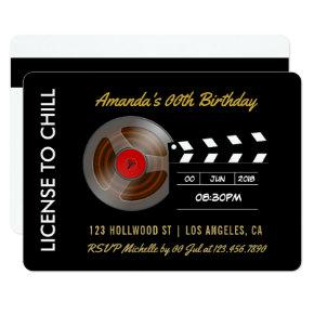 Movie Night Birthday Party VIP Pass Invitations