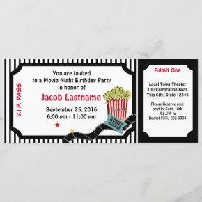 Movie Night Birthday Ticket Invitation