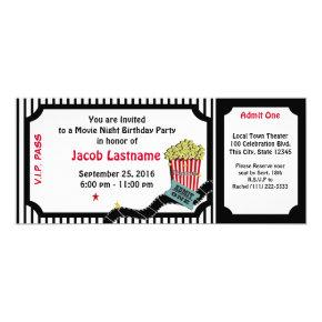 Movie Night Birthday Ticket Invitation